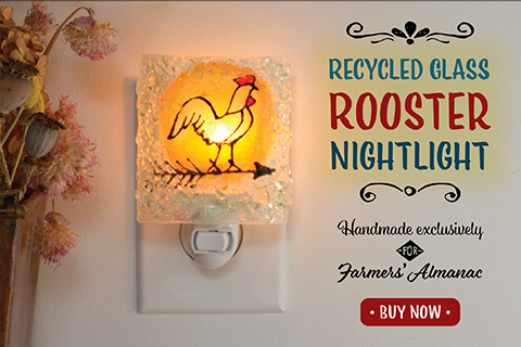 recycled glass rooster night light