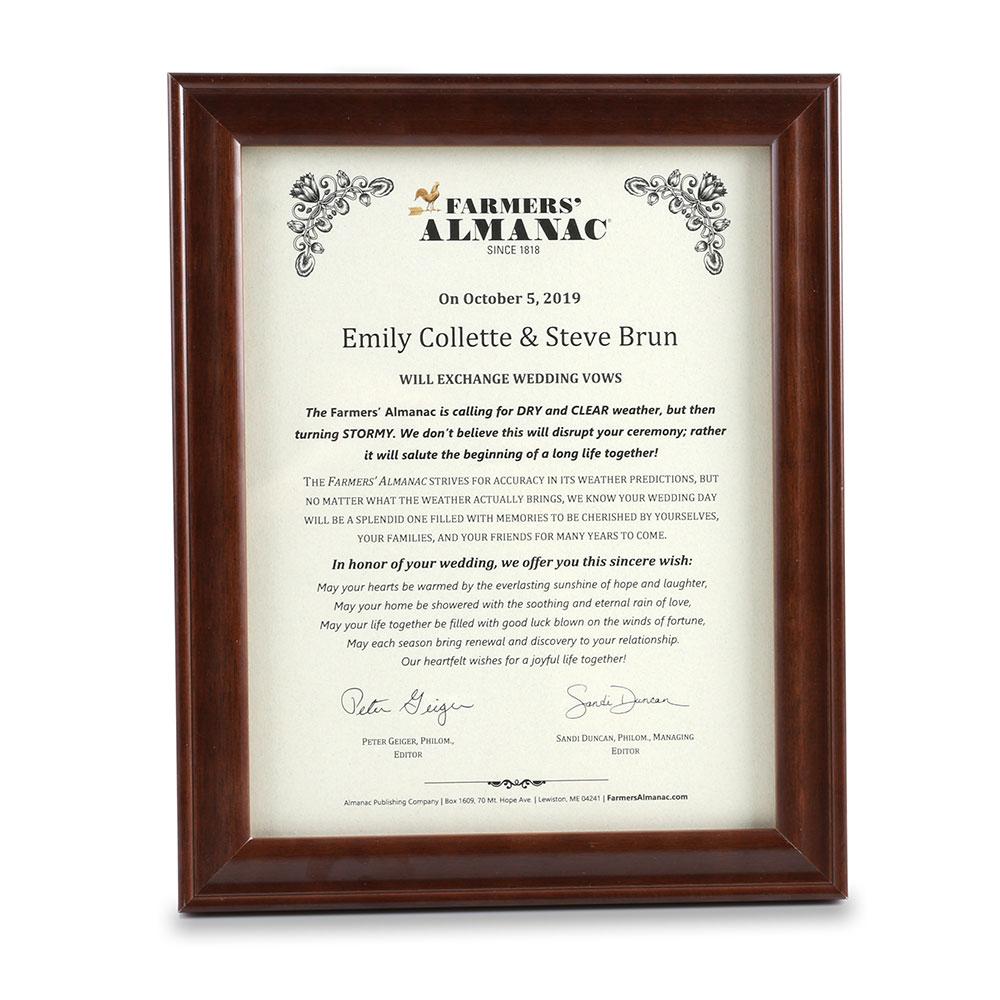 Farmers Almanac Wedding Weather Letter Framed Farmers Almanac Store
